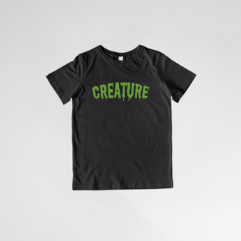 kids, children, tee, tshirt, cotton, creature, green, black