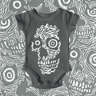 Infant, baby, onesie, black, featured artist, skulls, black