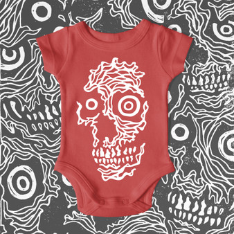 Infant, baby, onesie, red, featured artist, skulls, red, vintage