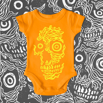 baby, infant, kids, onesie, toddler, skulls, featured artist, skull, orange