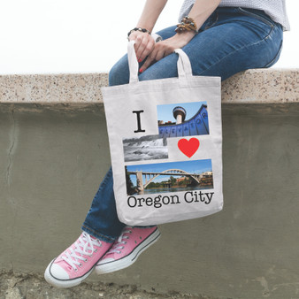 Tote, white, oregon city, fundraiser, support, elevator, waterfall, oregon, community