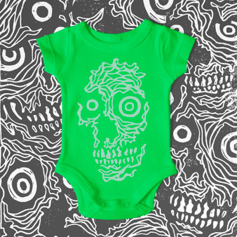 baby, infant, kids, onesie, toddler, skulls, featured artist, skull, green