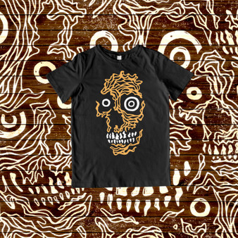 tshirt, kids, skulls, black, orange, white, arrex skulls, 100% cotton, apparel, featured artist