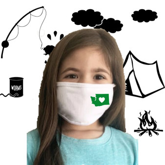White, 100% cotton, machine washable, 2 ply, safety, face mask, oregon, love, heart, green