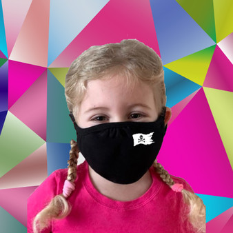 Black, 100% cotton, machine washable, 2 ply, safety, face mask, kids, pirate, flag