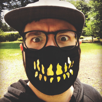 Black, 100% cotton, machine washable, 3 ply, safety, face mask, arrex skulls, gold, teeth