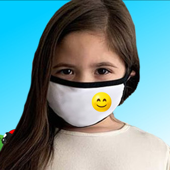 Black & White, 100% cotton, machine washable, 2 ply, safety, face mask, smiling, emoji, kids