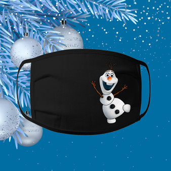 Olaf, Face mask, ear loops, black, 100% cotton, Christmas, Holiday