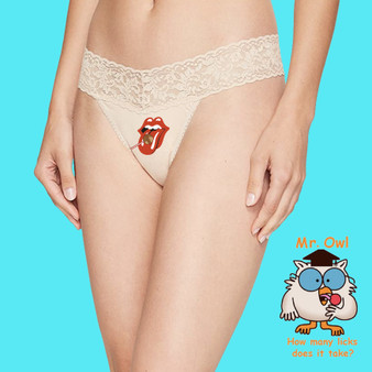 Thong, intimates, underwear, lace, ladies, apparel, licks, kisses, nude, sexy, lingerie, rolling stones, tootsie pop
