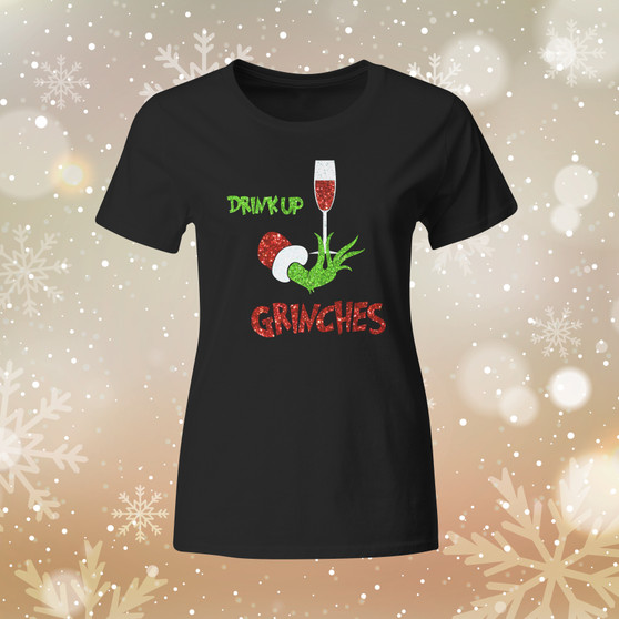 Ladies, Black tee, apparel, grinches, wine, drink, comfort, holiday, Christmas