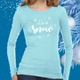 Ladies, Thermal, long sleeve, Light Blue, Glitter, apparel,  snow, holiday