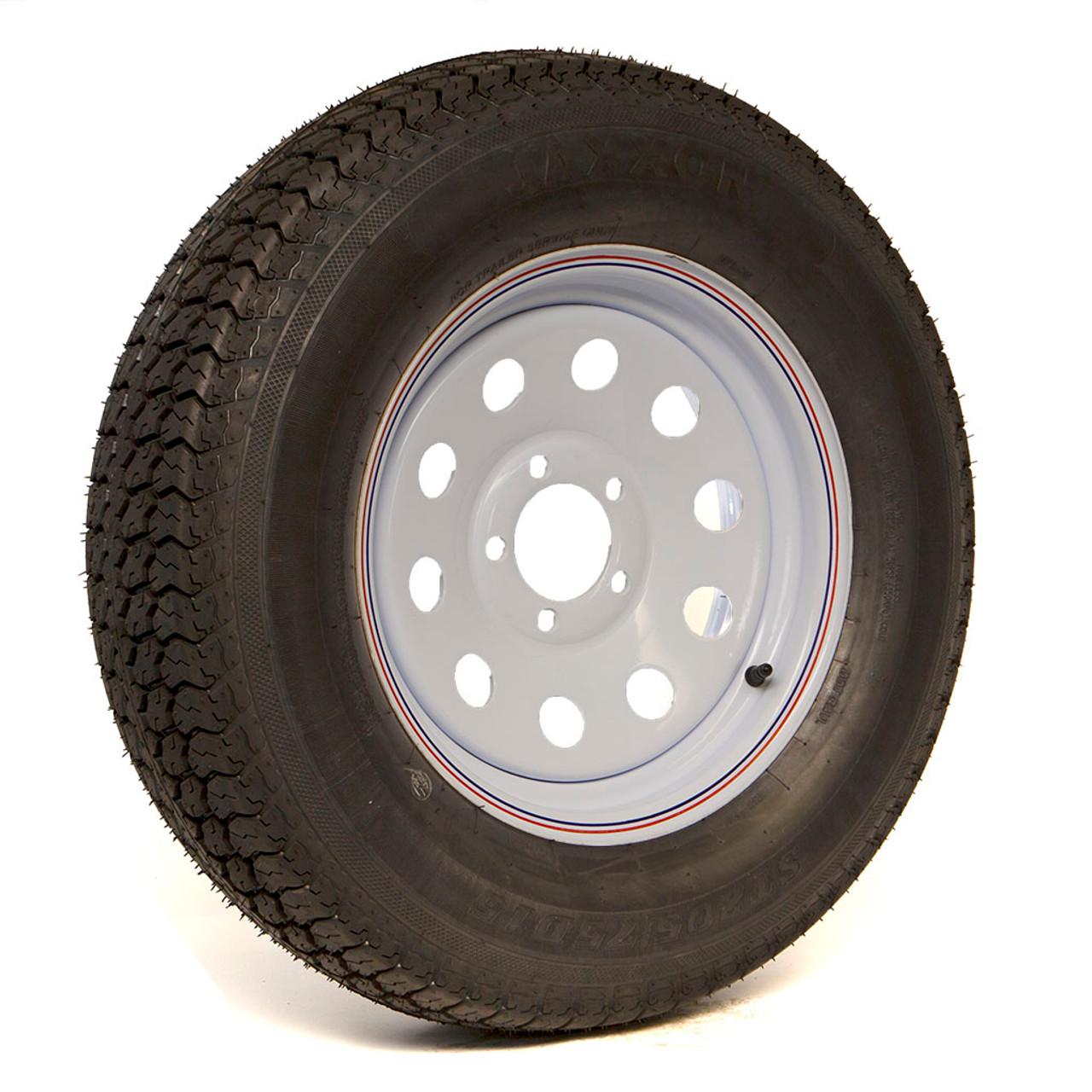 Bias Ply 205/75D15C Tire on a 5 Hole White Mod Wheel