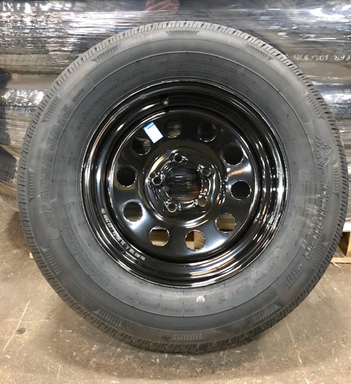 Tire  Radial 205/75R15C on 5 Hole 545 Black Mod Wheel