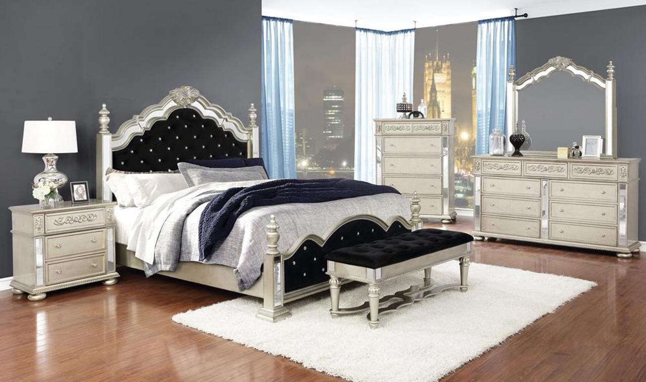 Heidi Collection Heidi 4 Piece Queen Tufted Upholstered Bedroom Set Metallic Platinum 222731q S4 On Sale At Stringer Furniture Serving Jackson Ms
