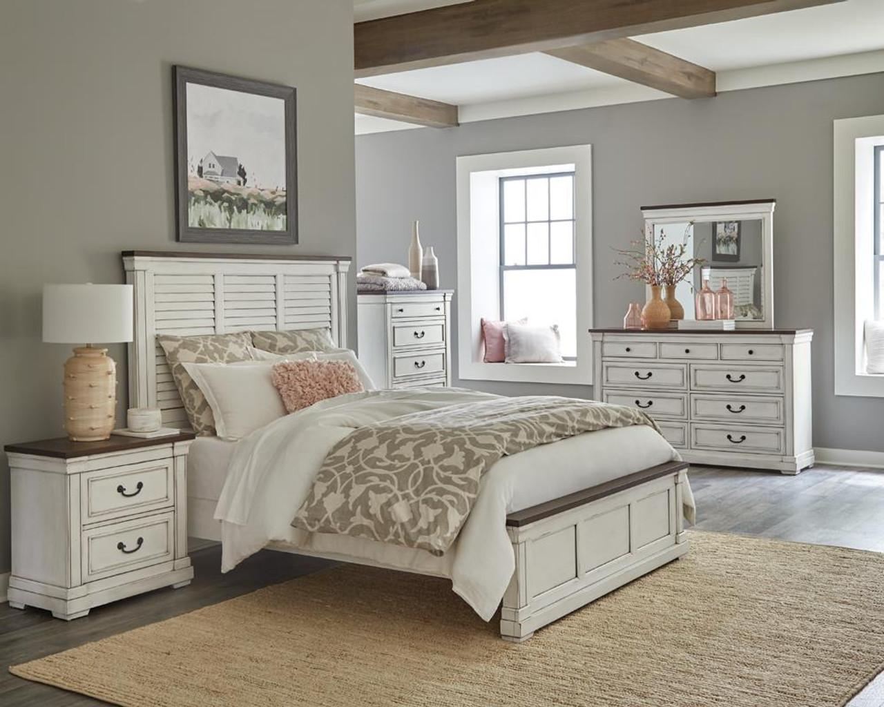 Hillcrest 4 Piece Eastern King Panel Bedroom Set White And Dark Rum 223351ke S4 On Sale At Stringer Furniture Serving Jackson Ms