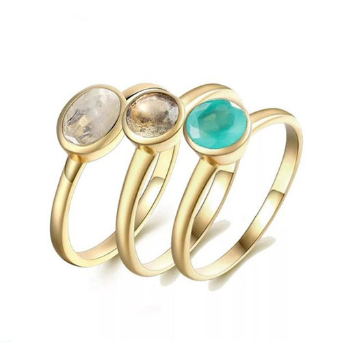 """Bright Future"" Aqua Calcite/Labradorite/Rainbow Moonstone Stackable Ring Set"