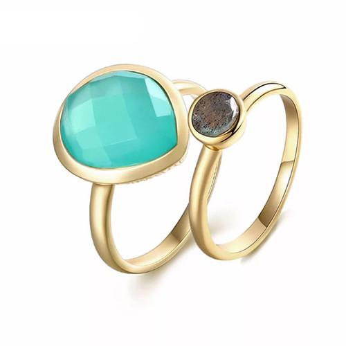 """Clarity"" Aqua Calcite/ Labradorite Stackable Ring Set"