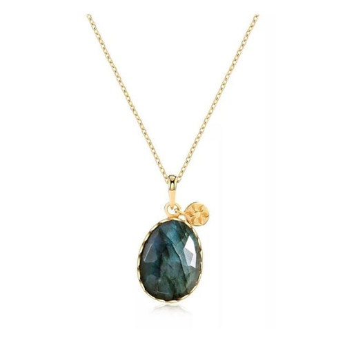 """Protection"" Labradorite Pendant Necklace Gold"