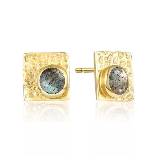 """Protection"" Textured Labradorite Stud Earring"