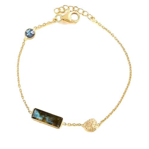 """Protection"" Labradorite Bar Pendant Bracelet"