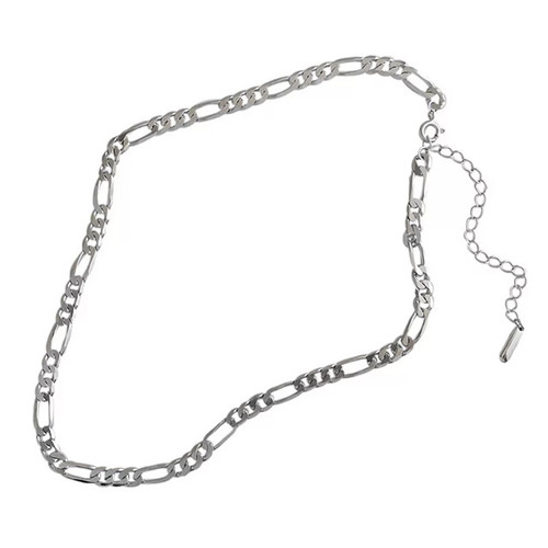 """Figaro"" Link Chain Necklace Silver"