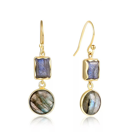 """Protection"" Two Stone Dangle Earring Gold"