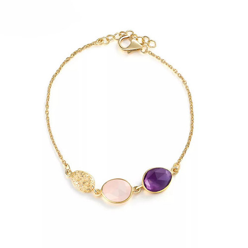 """Wind Element"" Amethyst Rose Quartz Bracelet Gold"