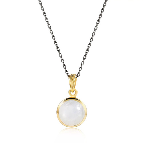 """Balance"" Rainbow Moonstone Pendant Necklace Gold"