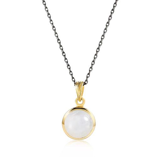 """Balance"" Rainbow Moonstone Pendant Necklace Gold"