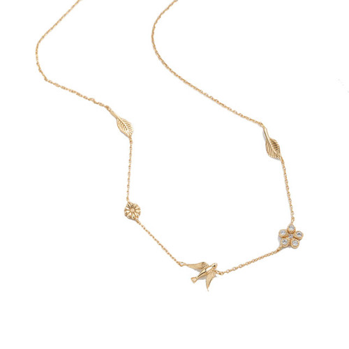 Swallow Choker Necklace Gold