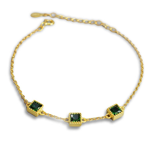 """Balance and Harmony"" Tri-Emerald Bracelet"
