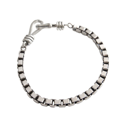 """""""Trouvaille"""" Box Chain Bracelet With Hook Silver"""