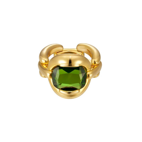 Vintage Chunky Peridot Ring Gold