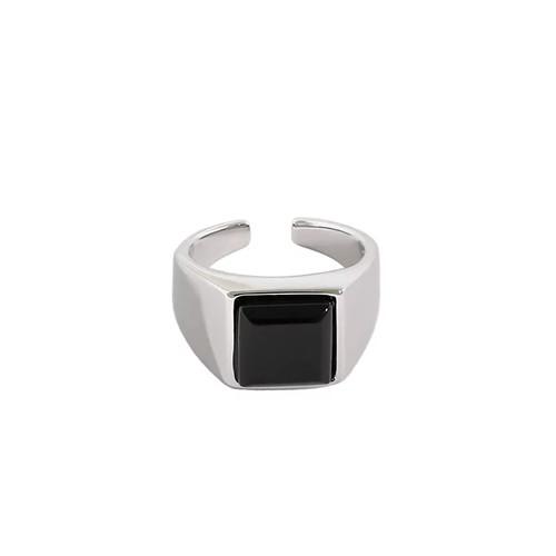 Black Agate Square Stone Ring Silver