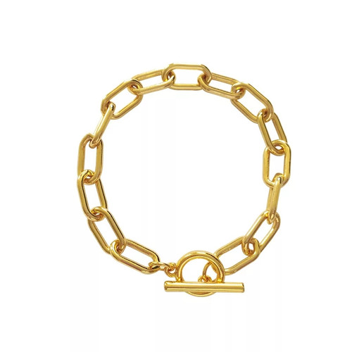 Chunky Chain Eyelet Closure Bracelet Gold