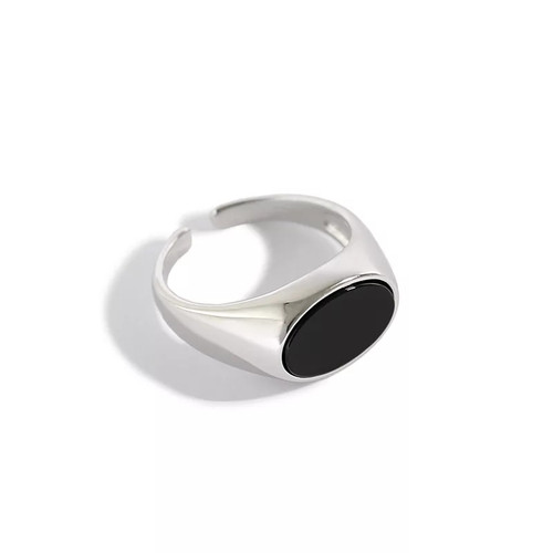 Black Agate Oval Stone Ring Silver