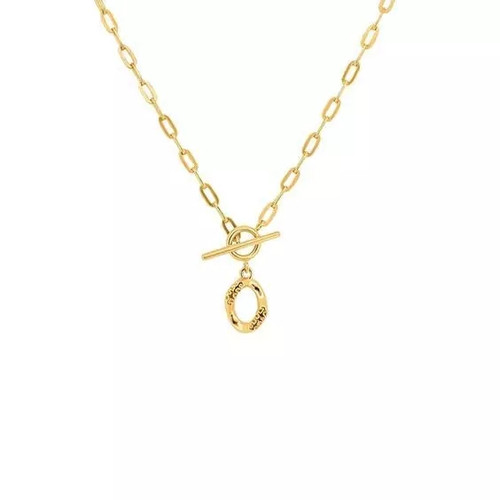 Eyelet Clasp Textured Pendant Necklace Gold