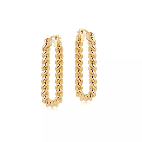 Twist Rectangle Hoop Earrings Gold