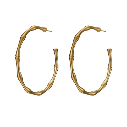 Bamboo Hoop Earrings Gold