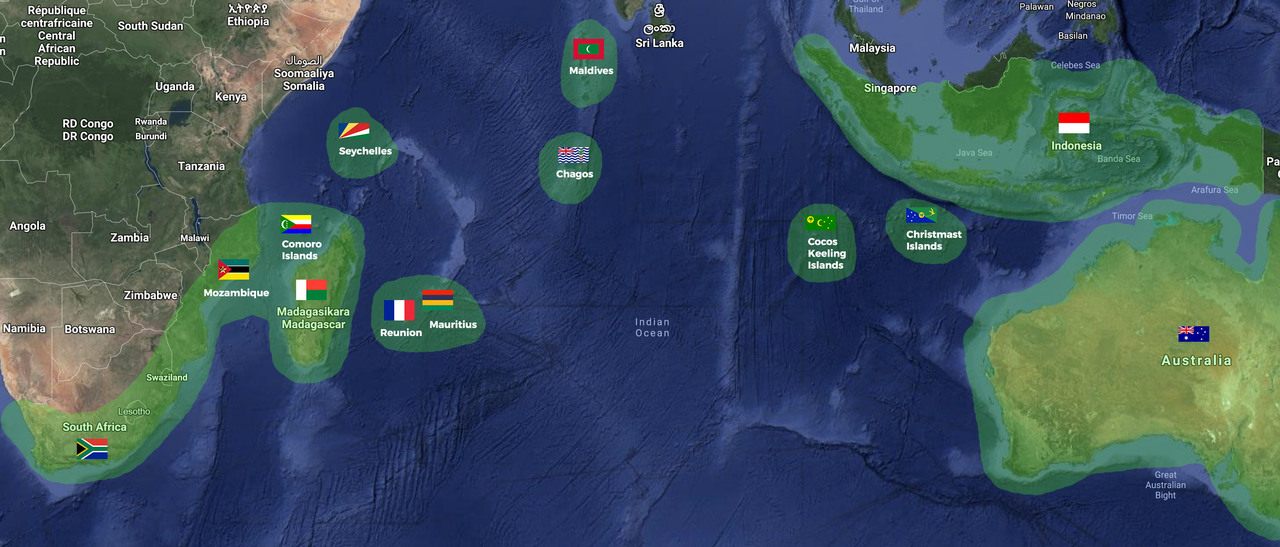 South Indian Ocean Courtesy Flag Set