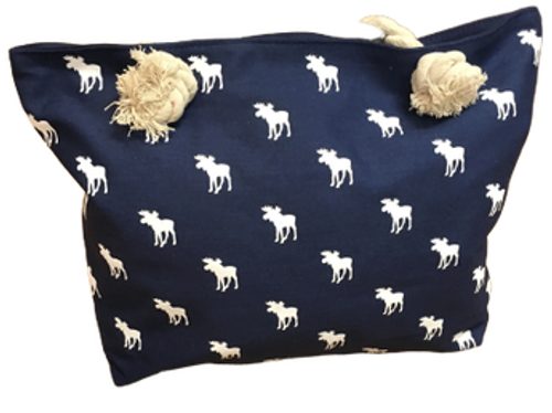 MOOSE ALL OVER CANVAS BAG NAVY