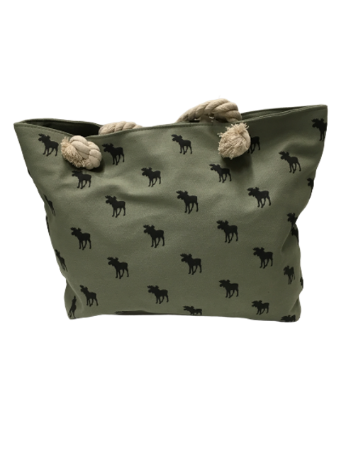 MOOSE ALL OVER CANVAS BAG GREEN
