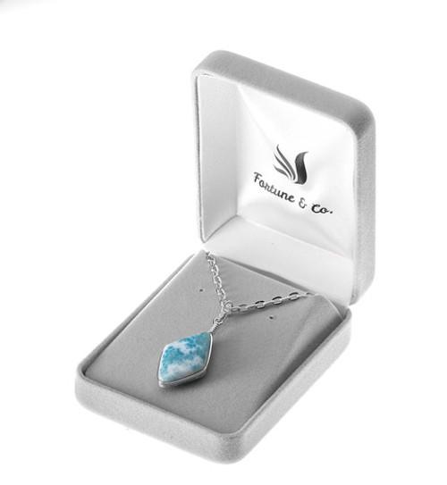 DIAMOND CUT LARIMAR NECKLACE