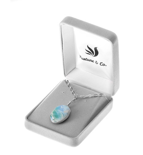 OVAL CUT LARIMAR NECKLACE