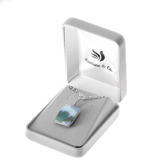 SQUARE CUT LARIMAR NECKLACE