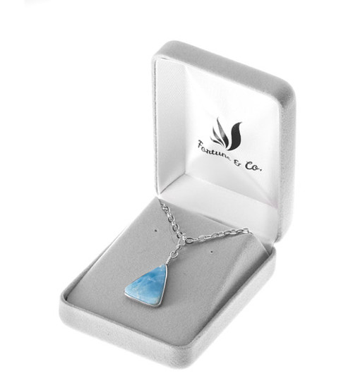 TRIANGLE CUT LARIMAR NECKLACE
