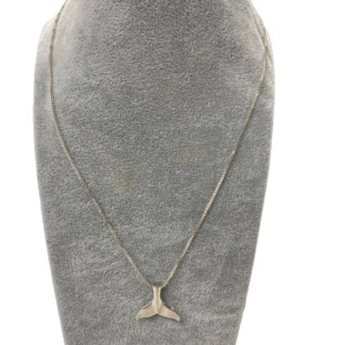 Whale tail silver necklace