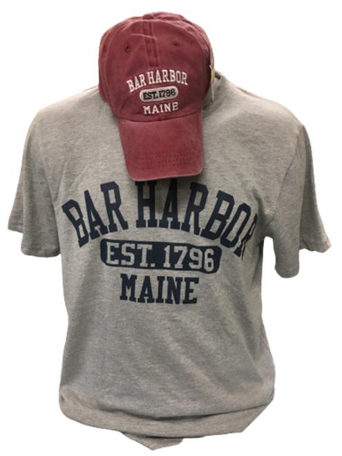 HAT & TEE COMBO MAROON AND GREY  -