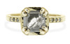 MAROA .89 carat fancy-cut translucent gray and rustic white diamond ring set in our signature square setting, set in 14k yellow gold. With ten 1.2mm brilliant gray diamonds set in notched band and each corner of main setting. Part of our New Classic Collection. Front view on white background