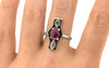 SANTORINI .49 carat cushion rose cut slat and pepper diamonds 1.24 carat rose cut ruby set in 14k white gold flat band. Part of New Classic Collection. on a hand